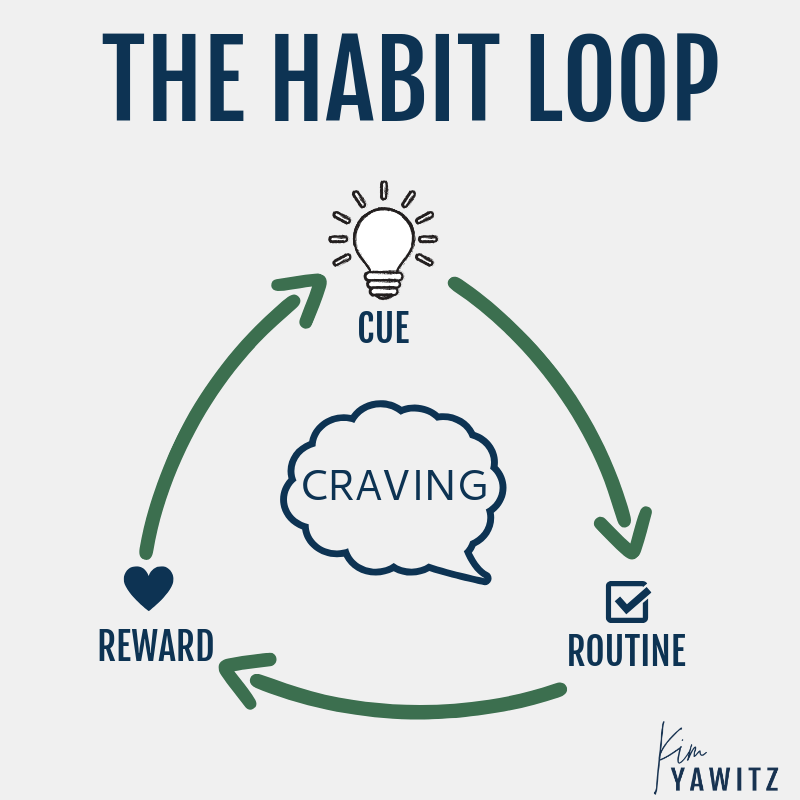 circle diagram of a habit loop with cue, routine, and reward around a craving